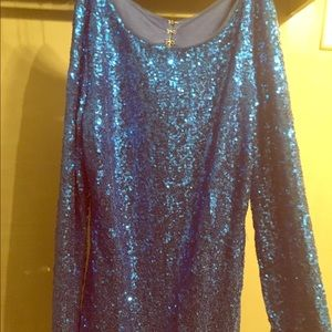 short blue sequin dress with sleeves